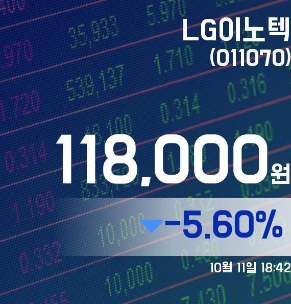▲10월 11일 LG이노텍 의 주가정보