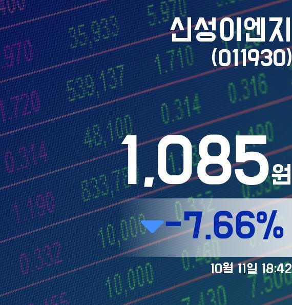 ▲10월 11일 신성이엔지 의 주가정보