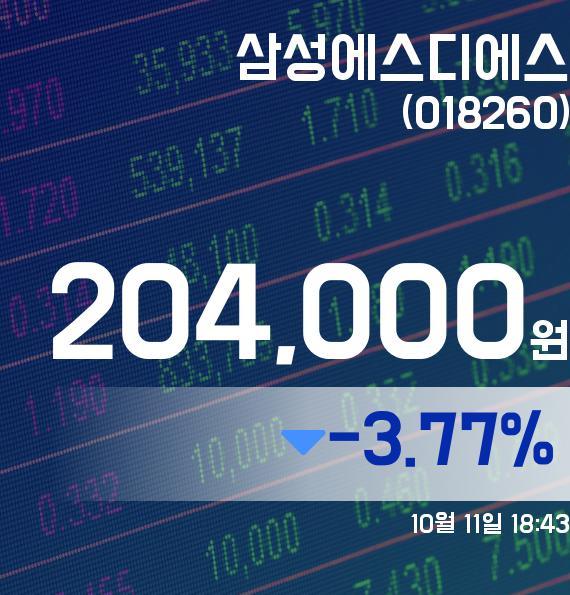▲10월 11일 삼성에스디에스 의 주가정보