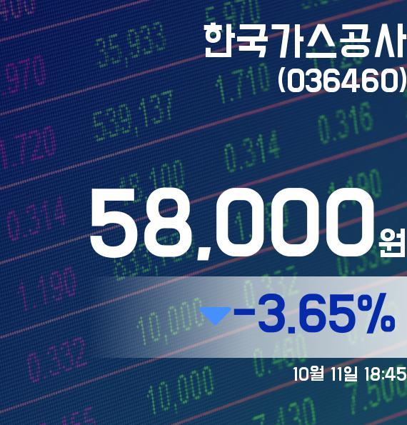 ▲10월 11일 한국가스공사 의 주가정보