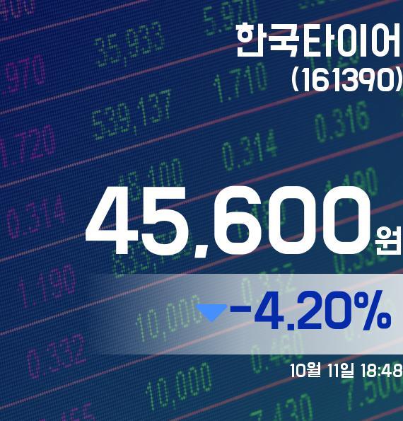 ▲10월 11일 한국타이어 의 주가정보
