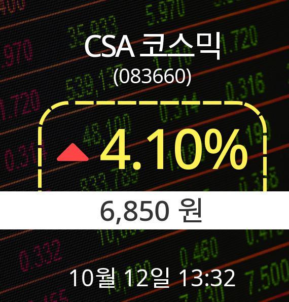 ▲10월 12일 CSA 코스믹 의 주가정보