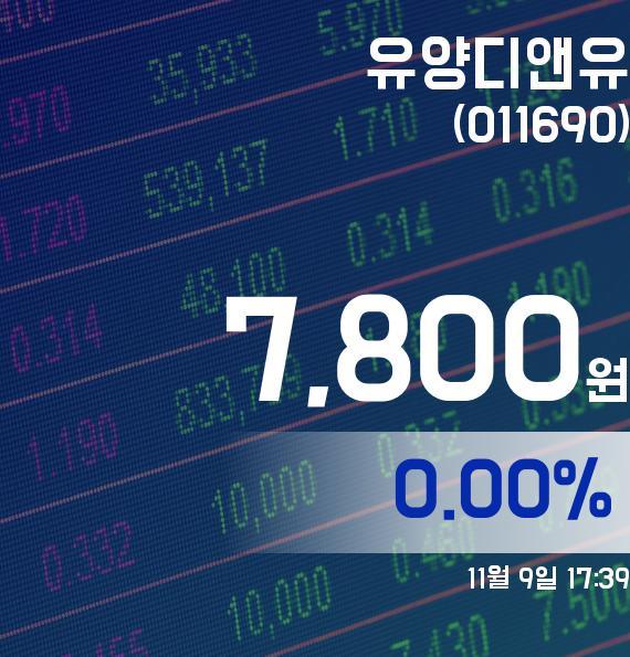 ▲11월 9일 유양디앤유 의 주가정보
