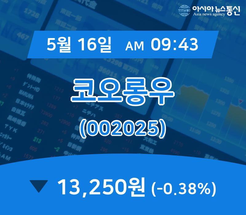 ▲5월 16일 코오롱우 의 주가정보