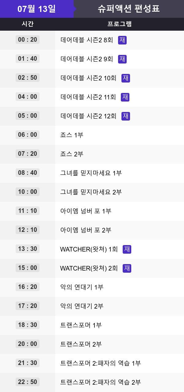 ▲채널 슈퍼액션 영화 편성표