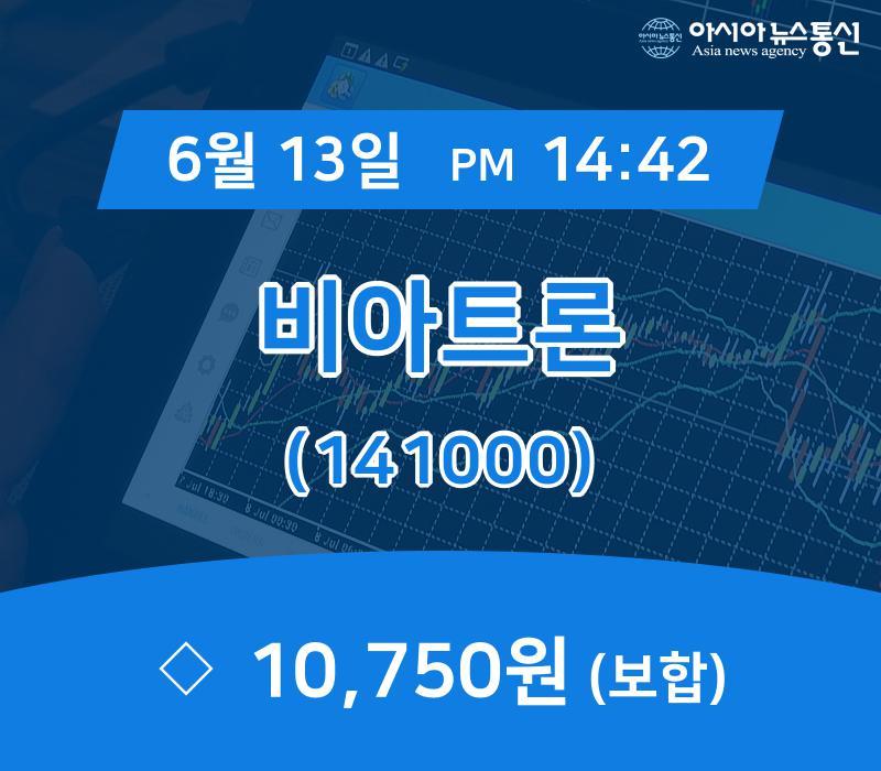 ▲6월 13일 비아트론 의 주가정보
