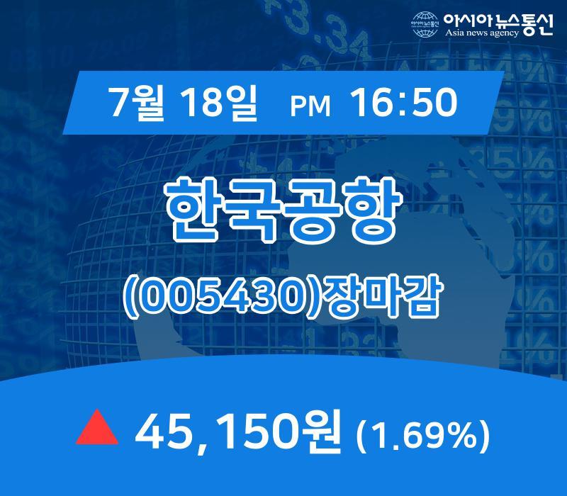 ▲7월 18일 한국공항 의 주가정보