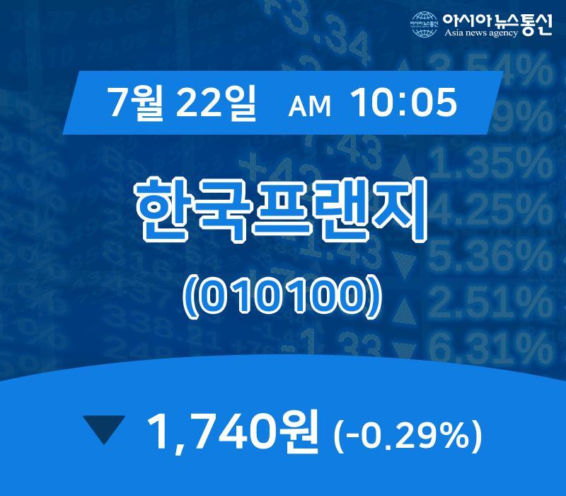 ▲7월 22일 한국프랜지 의 주가정보